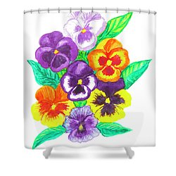 Pansies, Watercolour Painting Shower Curtain by Irina Afonskaya