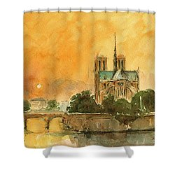 Paris Notre Dame Shower Curtain by Juan  Bosco