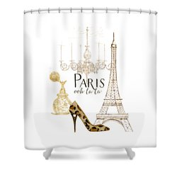 Paris - Ooh La La Fashion Eiffel Tower Chandelier Perfume Bottle Shower Curtain by Audrey Jeanne Roberts