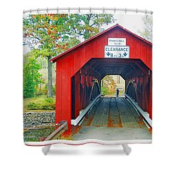 Parr's Mill Covered Bridge, Columbia County, Pennsylvania Shower Curtain