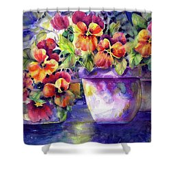 Patio Pansies Shower Curtain