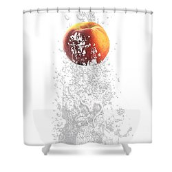 Peach Splash Shower Curtain by Marvin Blaine
