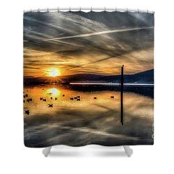 Peekskill Sunset Shower Curtain by Rafael Quirindongo