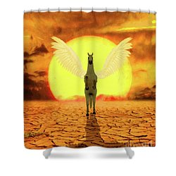 Pegasus By Mary Bassett Shower Curtain