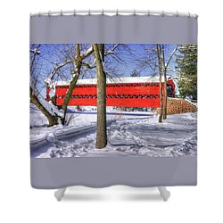 Pennsylvania Country Roads - Sachs Covered Bridge Over Marsh Creek - Adams County Winter Shower Curtain by Michael Mazaika