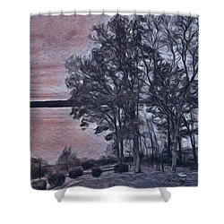 Shower Curtain featuring the painting Pennsylvania Landscape by Joan Reese