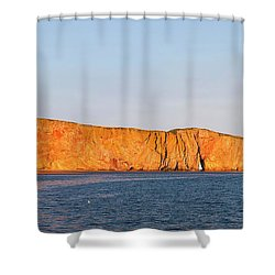 Shower Curtain featuring the photograph Perce Rock At Sunset by Elena Elisseeva