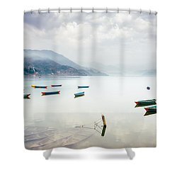 Phewa Lake In Pokhara, Nepal Shower Curtain