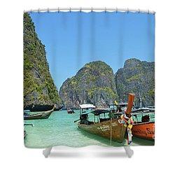Shower Curtain featuring the digital art Phi Phi Islands 3 by Eva Kaufman