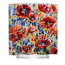 Picket Fence Poppies Shower Curtain