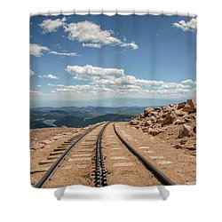 Pikes Peak Cog Railway Track At 14,110 Feet Shower Curtain by Peter Ciro