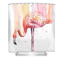 Pink Flamingo Watercolor Rain Shower Curtain