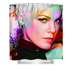 Shower Curtain featuring the mixed media Pink by Marvin Blaine