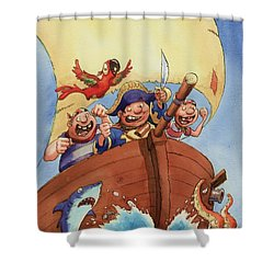 Pirate Ship Shower Curtain by Andy Catling