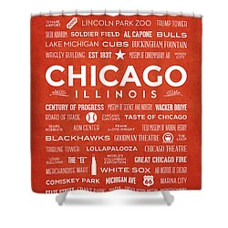 Shower Curtain featuring the digital art Places Of Chicago On Orange Chalkboard by Christopher Arndt