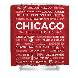 Shower Curtain featuring the digital art Places Of Chicago On Red Chalkboard by Christopher Arndt
