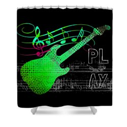 Shower Curtain featuring the digital art Play 3 by Guitar Wacky