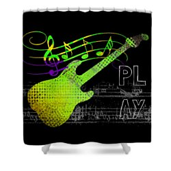 Shower Curtain featuring the digital art Play 1 by Guitar Wacky