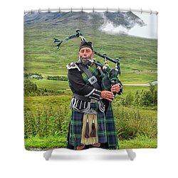 Playing Bagpiper Shower Curtain