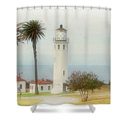 Point Vincente Lighthouse, California In Retro Style Shower Curtain