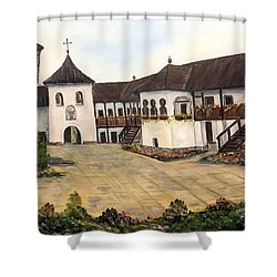 Polovragi Monastery - Romania Shower Curtain by Dorothy Maier