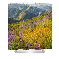 Poppies And Lupine Shower Curtain by Marc Crumpler