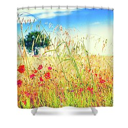 Shower Curtain featuring the photograph Poppies With Tree In The Distance by Silvia Ganora