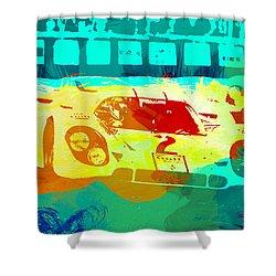 Porsche 917 Watercolor Shower Curtain by Naxart Studio