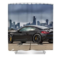 Shower Curtain featuring the photograph #porsche #cayman #gt4 by ItzKirb Photography