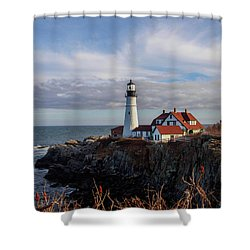 Shower Curtain featuring the photograph Portland Head Light by Trace Kittrell