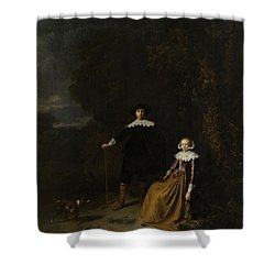 Portrait Of A Couple In A Landscape Shower Curtain by Gerard Dou