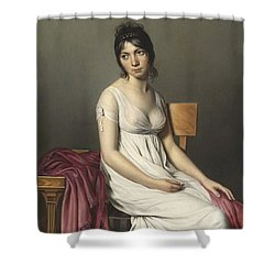 Portrait Of A Young Woman In White Shower Curtain