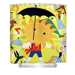 Portugal Vintage Travel Poster Restored Shower Curtain by Carsten Reisinger