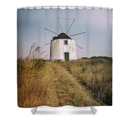 Shower Curtain featuring the photograph Portuguese Windmill by Carlos Caetano