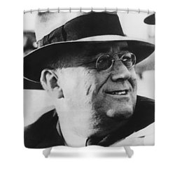 Shower Curtain featuring the photograph President Franklin Roosevelt by War Is Hell Store
