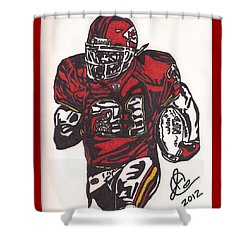 Shower Curtain featuring the drawing Priest Holmes 2 by Jeremiah Colley