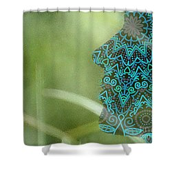 Profile Portrait Of Young Beautiful Woman. Shower Curtain