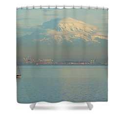 Puget Sound Shower Curtain by Angi Parks