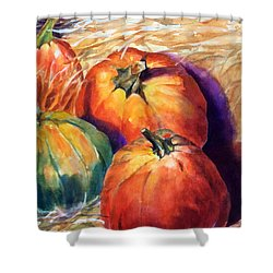 Pumpkins In Barn Shower Curtain