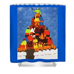 Pyramid Of African Drummers Shower Curtain