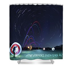 Real Golfers Even Golf At Night Shower Curtain