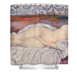 Reclining Nude Shower Curtain by Theo van Rysselberghe
