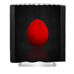 Red Egg On Black Canvas  Shower Curtain