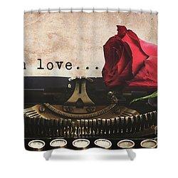 Red Rose On Typewriter Shower Curtain