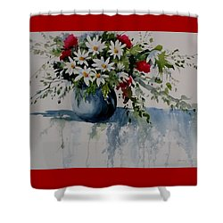 Red White And Blue Bouquet Shower Curtain