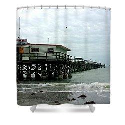 Redington Beach, Florida Fishing Pier Shower Curtain by Scott D Van Osdol