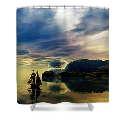 Shower Curtain featuring the digital art Reflection Bay by Sandra Bauser Digital Art
