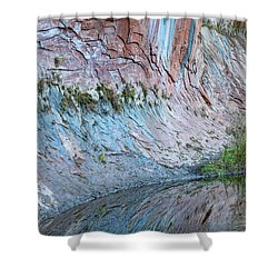 Shower Curtain featuring the photograph Reflections In Oak Creek Canyon by Sandra Bronstein