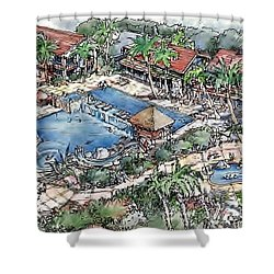 Shower Curtain featuring the painting Resort by Andrew Drozdowicz