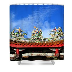 Shower Curtain featuring the photograph Richly Decorated Chinese Temple Roof by Yali Shi